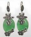 "NATURAL JADE VERDE 925 STERLING SILVER & MARCASITE BRINCOS FLOR 11/2 ""-Noiva jóias frete grátis"