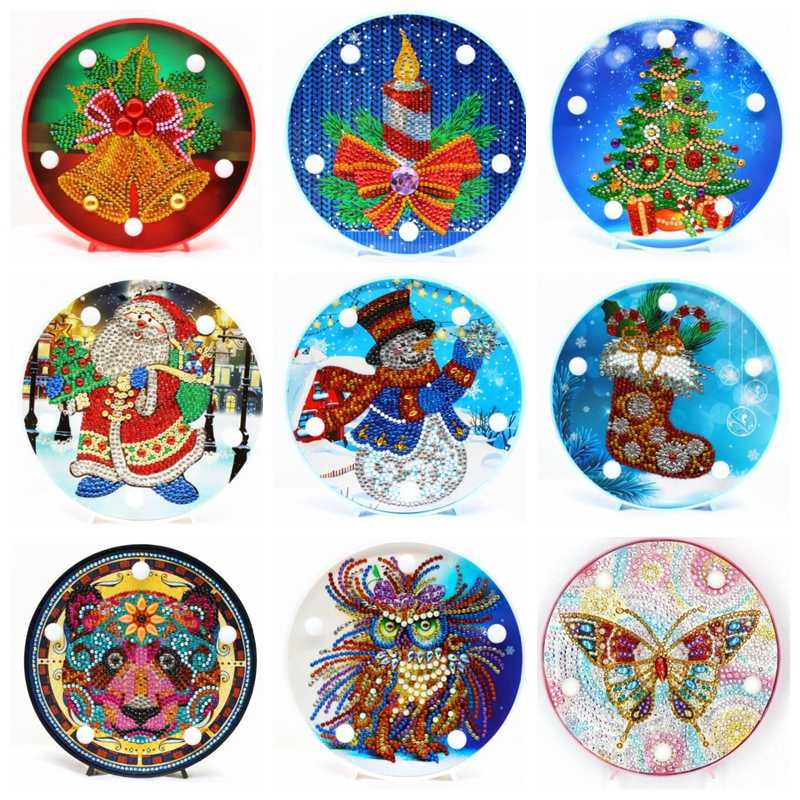 LED Decoration Light  Santa Claus DIY Drill Diamond Painting Light Bedroom Night Lamp Home Desk owl Night Lamp Christmas gift