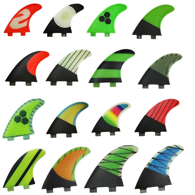 Srfda de fibra de vidrio y de panal de tabla de surf fin propulsor surf fin para FCS caja aletas (tres-set) SUP tablero largo fin tamaño G5/M
