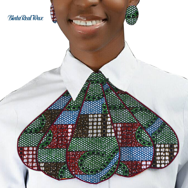 Fashion African Print Ankara Tie And Earring For Women African Style Triangle Ankara Fabric Cravat With Stud Earrings WYB318