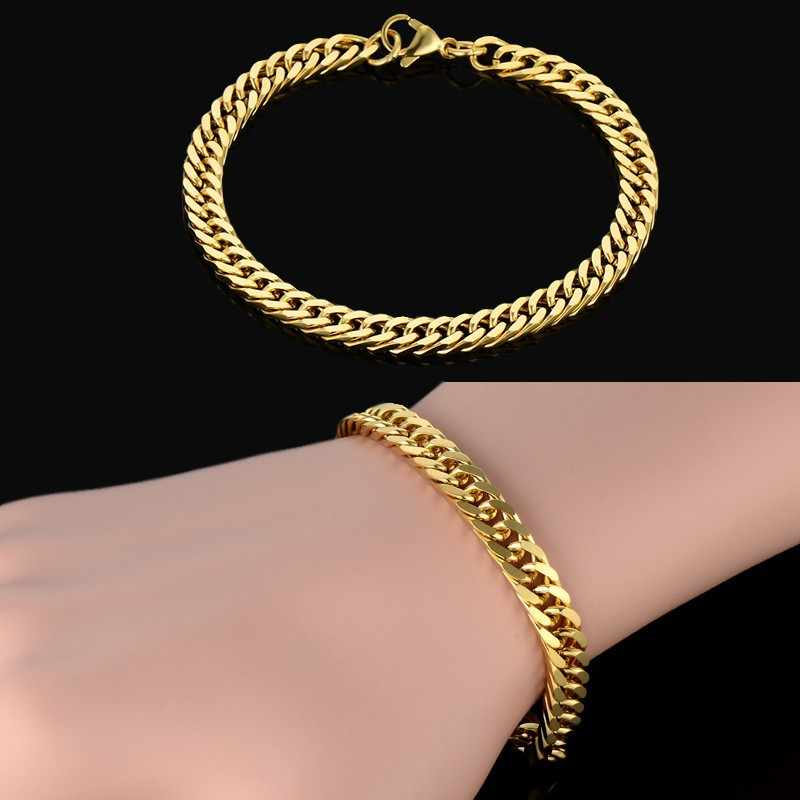 Gold Bracelet Men Bileklik Accessories Wholesale,Gold Color Stainless Steel Chain Accessories Pulsera, 2018 New