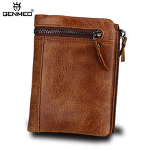 GENMEO New Genuine Leather Wallet Men RFID Blocking Cow Purse with Card Holder Clutch Bag Coin Bolsa Feminina