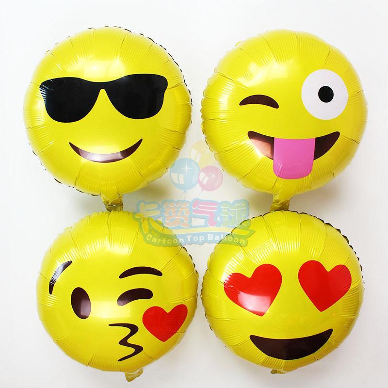 2pcs/lot Emoji Foil Balloon QQ Wechat Cool Love Kiss