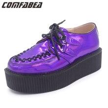 Большие Размеры 35 ~ 43 всесезонные женские панк готический рок на двойной платформе Туфли на толстой мягкой подошве на шнуровке фиолетовый лазерной голограммой обувь