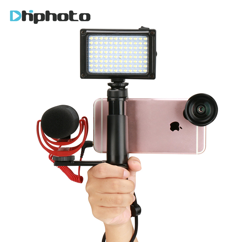 Livestream Gear Smartphone Video Handle Rig Stand with Microphone LED Filling Light for Broadcast Fillmaking for iPhone 8 7 plus saramonic smartmixer smartphone video film microphone handheld recording stereo microphone rig for iphone samsung android