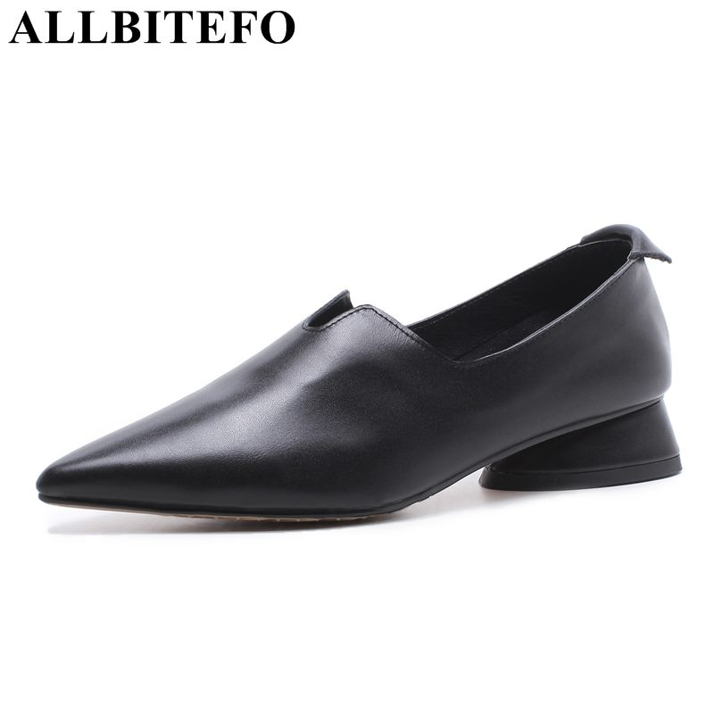 ALLBITEFO 2018 new spring genuine leather pointed toe high heels women pumps high heel shoes girls shoes office ladies shoes romanson tl 2632 mg wh bn page 3 page 4