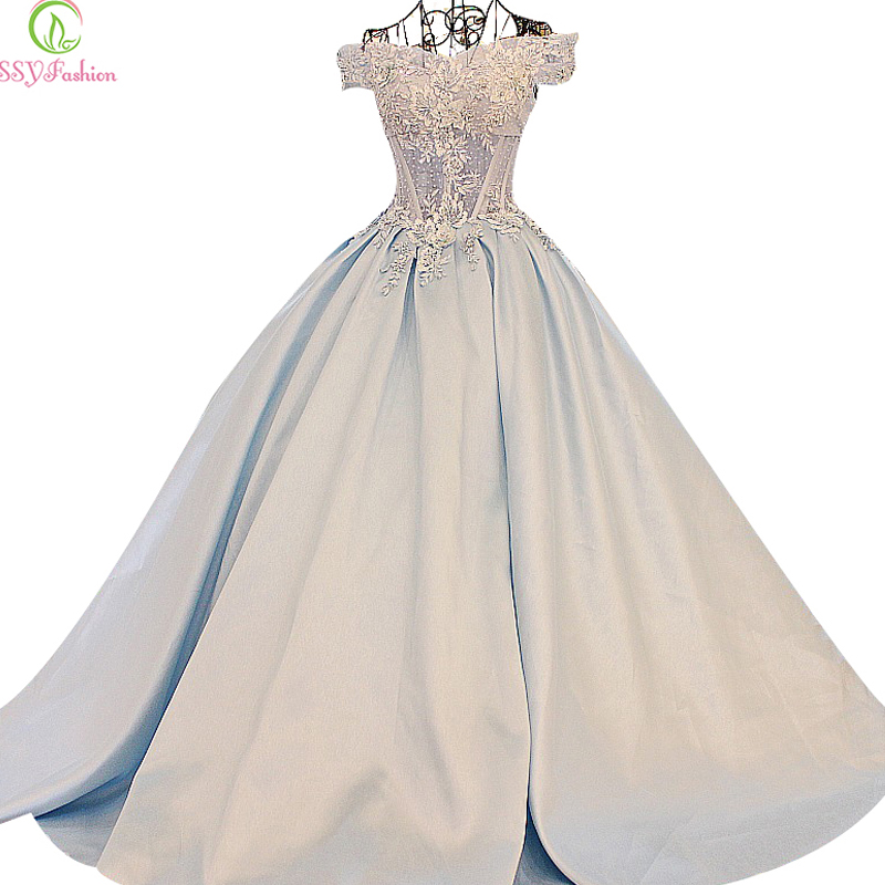 SSYFashion High-grade Light Blue Luxury Satin Lace Flower Long Evening Dress The Princess Married Banquet Party Prom Dresses