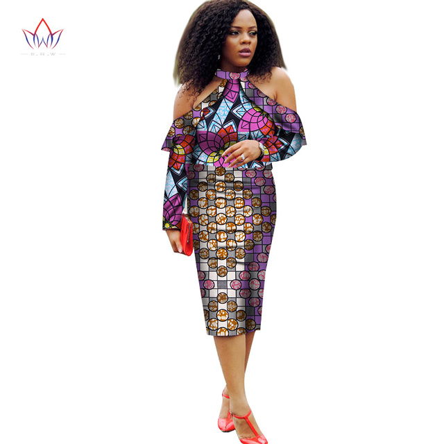 66184412f61 Robes Femmes Africaines Robes 2018 Nouvelle Mode Hors Épaule Vêtements  Africains Dashiki Grande Taille Robe de ...