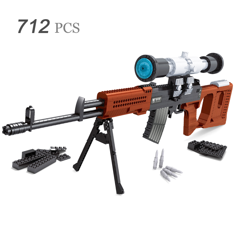 все цены на SVD Sniper Sniper Assault Rifle GUN Weapon Arms Model 1:1 3D 712pcs Model Brick Gun Building Block Set Toy Gift For Children онлайн