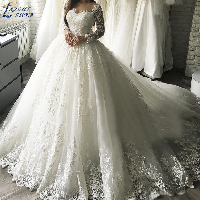 Ball-Gown Wedding-Dresses Celebrity Robe-De-Mariee Long-Sleeves New Luxury Lace ZL1037 title=