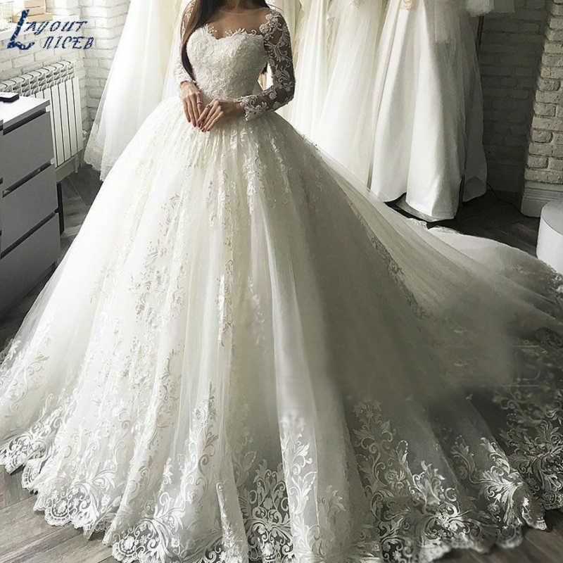 ZL1037 New Gorgesous Long Sleeves Ball Gown Lace Wedding Dresses Bridal Gown Celebrity vestido De Noiva robe de mariee Luxury