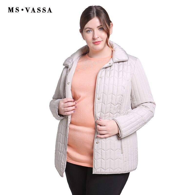 MS VASSA Ladies Jackets Spring Winter 2019 New Casual coats turn down collar plus size 6XL