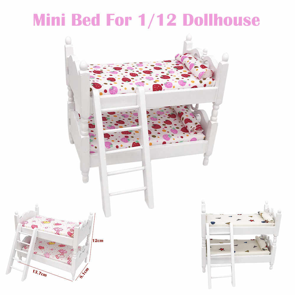 Mini Dollhouse Furniture Bed Set Miniature Living Room Kids Pretend Play Toy Children Kids Toys Gifts Doll House Accessories