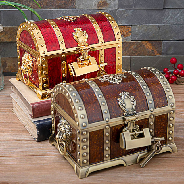 Vintage Home Decoration Big Size Pirate Box Treasure Chest Jewelry Box Organizer Metal Art Craft Decor