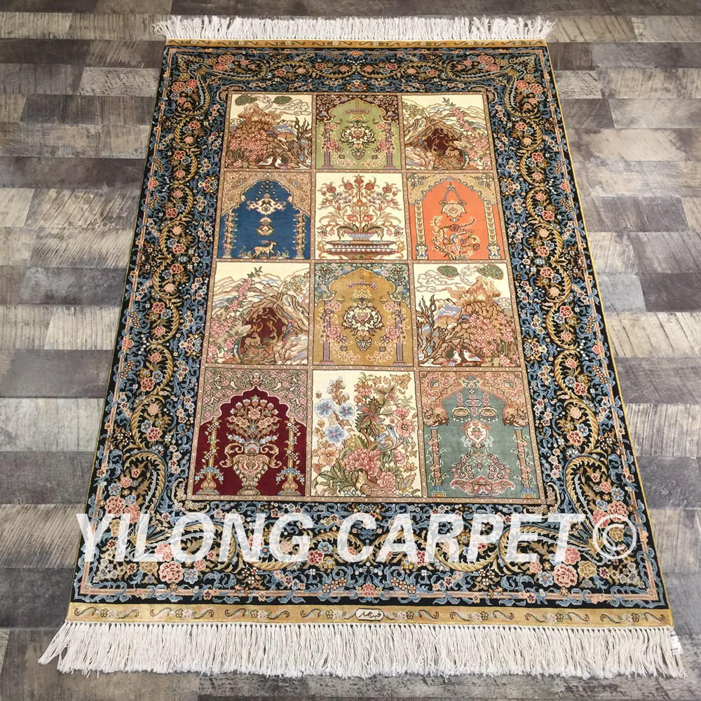 Yilong 3'x4.5' Four Seasons Handmade Persian Rugs Turkish