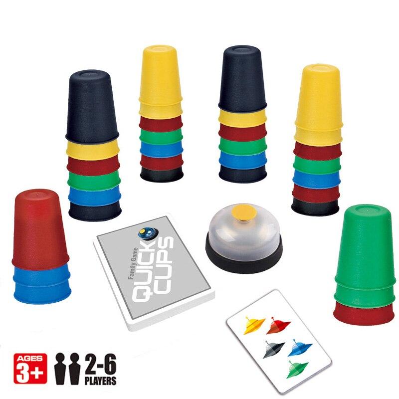 2-6 spieler Familie Brettspiel Geschwindigkeit Cups Stapeln Spiel Karte Spiele Lustige Party Herausforderung Schnell Tassen Indoor Spiel für kind Geschenk