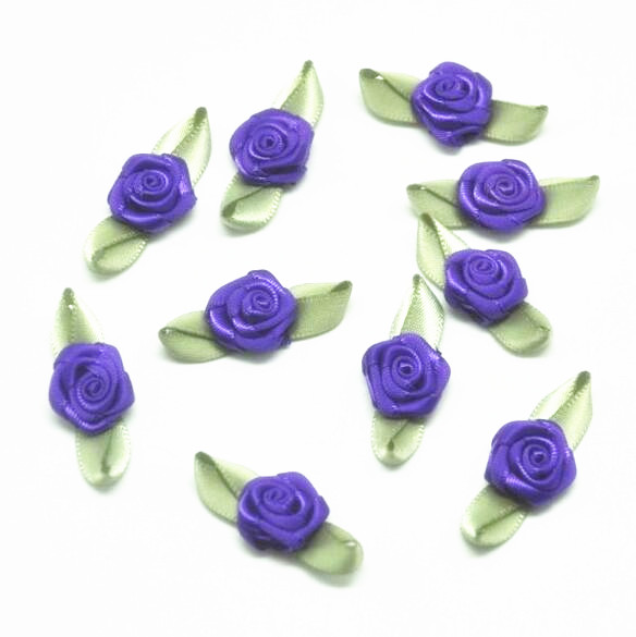 Hot Sale Purple Costume Lingerie Decorative Accessory Ribbon Rose with Leaf