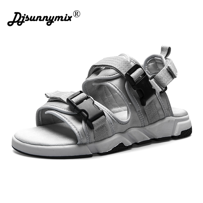DJSUNNYMIX summer sandals men shoes comfortable men sandals fashion design casual men sandals shoes casual men s sandals with striped and velcro design