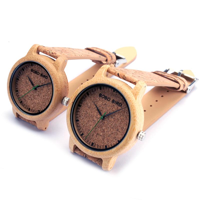 Prix pour Bobo bird loves'fashion bambou poignet montres de luxe marque montre à quartz avec cork bande pour hommes femmes relojes mujer 2017