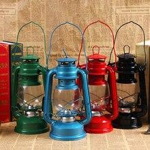 Linterna LED Vintage de Camping, linterna portátil de queroseno para exteriores, lámpara de aceite Hurricane, lámpara LED de emergencia, funciona con batería