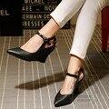 Sexy Zapatos de Las Mujeres Zapatos de Moda Ceremonia de Adultos Desgaste de Cuña Cuña de Las Mujeres Zapatos de Punta Cerrada Plain Broche de Abrigo Del Tobillo Winkle Selector