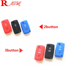 Silicone car key cover key protector for Peugeot 206 207 307 308 407 408 508 3008 607 RCZ /Citroen C2 C3 C4 C4L C5 C6 C7 Quatre new silicone case bag cover 2 buttons for peugeot 206 207 307 308 407 408 citroen c2 c3 c4 c4l c5 c6 quatre key fob car styling