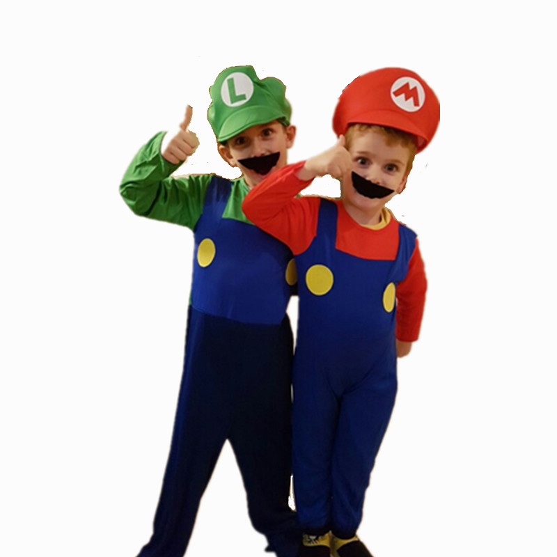 24Hours Ship Kids Boys Girls Super Mario Brothers Costumes Cosplay Purim Carnival Party Plumber Fancy Dress Up Party  Clothing