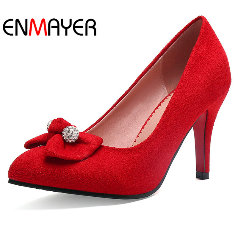 ФОТО ENMAYERW Spring Autumn Women Pumps Shoes Bow Tie Rhinestone Pointed Toe Slip-On Thin Heels Large Size 34-43 Red Red Wine Black