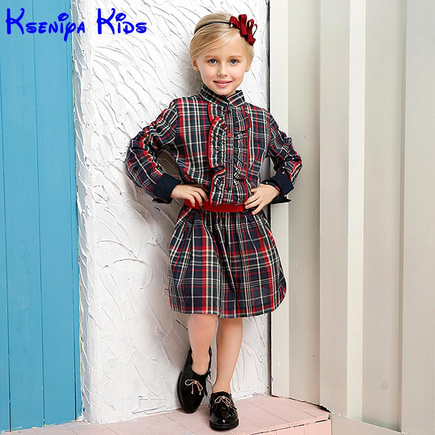 2016 Spring Kids Girl Plaid Cotton Long Sleeved Dress With Red Belt Girls Long Clothes School Teenagers Girl Fashion Blouse Belt ws 2471 women s stylish cotton long sleeved long blouse grey