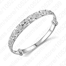 New Brand Women  Newest Luxury Bangles Wedding Jewelry 925 Sterling Silver Flower  Bracelets Bangles For Women Fashion