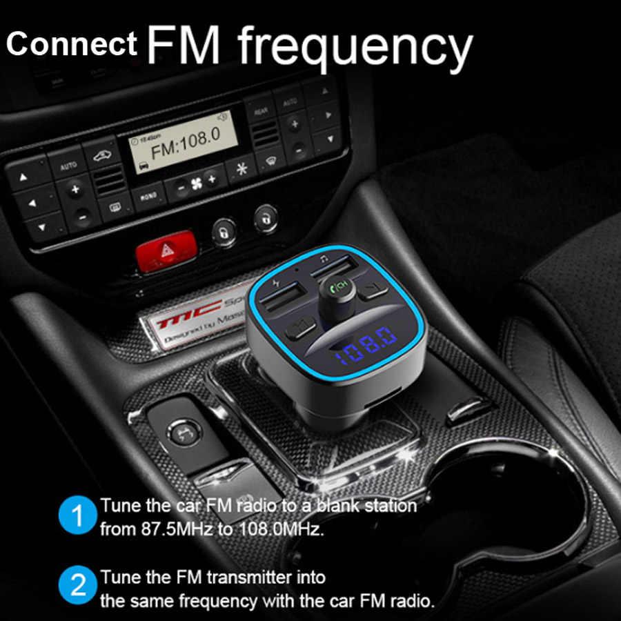 AGETUNR T25 Bluetooth 5.0 ハンズフリー車 Mp3 音楽プレーヤー Fm トランスミッター 2 USB 車の充電器 U ディスク TF カードロスレス音楽プレーヤー