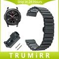 22mm faixa de relógio de aço inoxidável alça de liberação rápida + ferramenta para samsung gear s3 clássico fronteira butterfly fivela de cinto pulseira