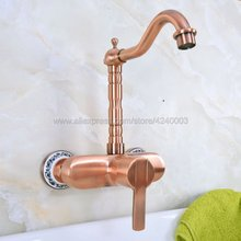 Antique Red Copper Tow Hole Wall Mounted Bathroom Basin Faucet / 360 Swivel Spout Kitchen Sink Mixer Taps Kna939