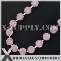 (5 yards/lot) SS38 8mm 12 Griffes Strass Tasse Garniture De Chaîne pour le Vêtement et Chaussures et bijoux, rose Albâtre Opale Strass