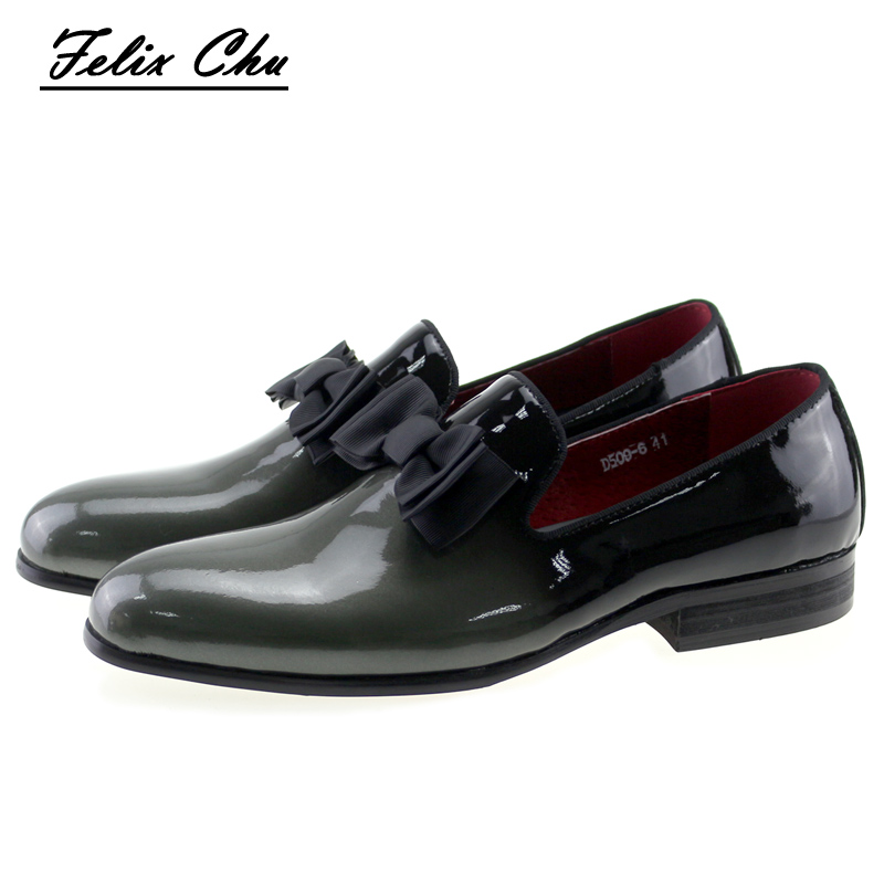 2017 Brand Luxury Genuine Patent Leather Men Wedding Dress Shoes With Bow Tie Men's Banquet Party Formal Loafers #D509-6 cbjsho brand men shoes 2017 new genuine leather moccasins comfortable men loafers luxury men s flats men casual shoes