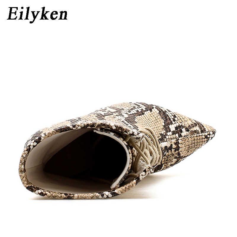 Eilyken Serpantin Kadınlar yarım çizmeler 2019 Sonbahar Dantel-up Sivri Burun Stilettos Ayakkabı Moda Seksi Chelsea Çizmeler boyutu 35- 42