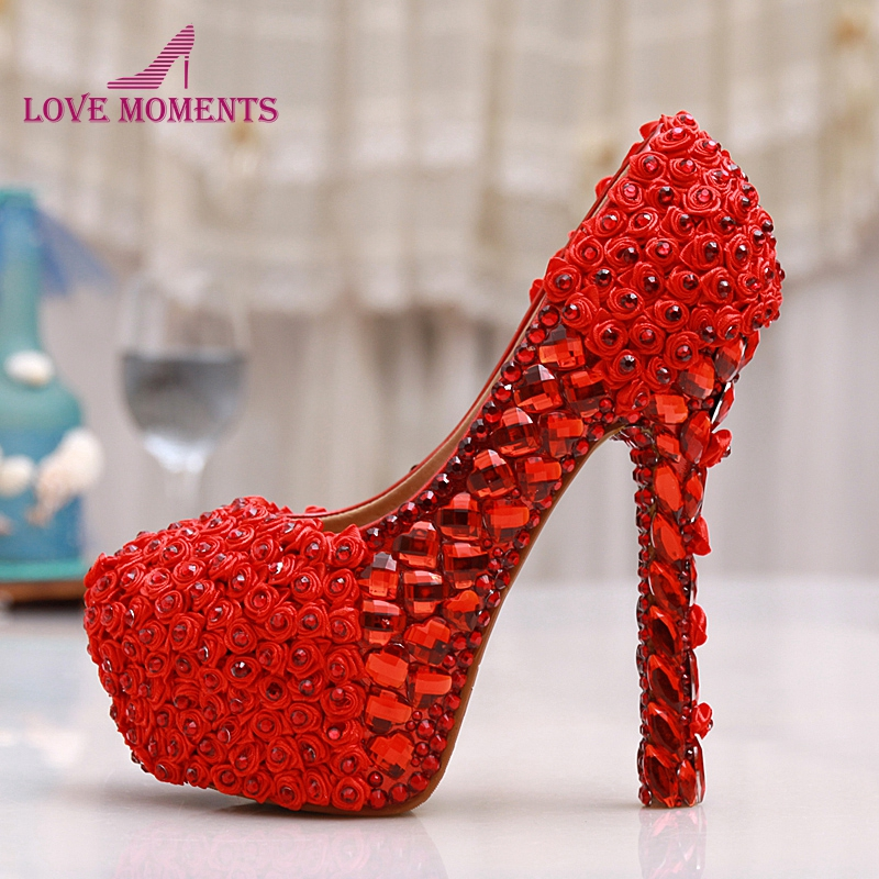 Red Rose Flower Wedding Shoes Platforms Rhinestone High Heel Shoes Bride White Crystal Dress Shoes Women Party Prom Pumps pure white pearl wedding dress shoes gorgeous red rhinestone heart shape women pumps 3 inches high heel bride shoes event pumps