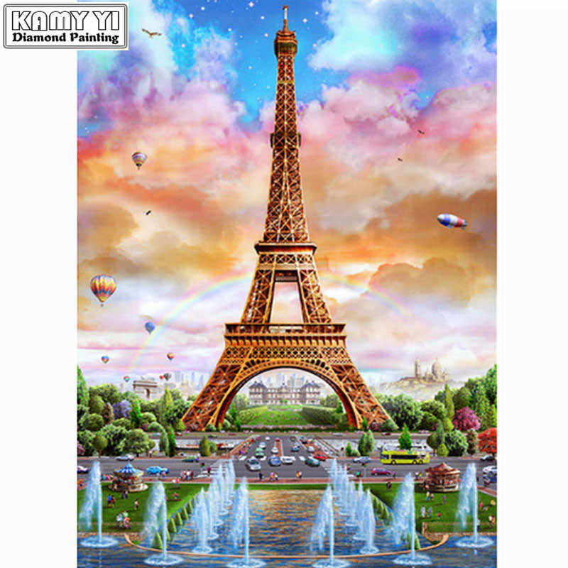 Full-Diamond-Embroidery-Eiffel-Tower-5D-Diy-Diamond-Painting-landscape-Decorative-Resin-Stone-Pasted-Picture-Birthday LK1