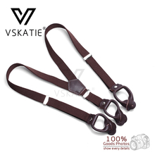 Fashion Brown Leather Suspenders Children Button Braces Y-back Strap belt Elastic belt for boy 6 colors