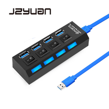 цена на JZYuan USB 3.0 Hub 4 Ports 5Gbps High Speed HUB USB Portable USB Hub With On/Off Switch USB Splitter Adapter Cable For PC Laptop