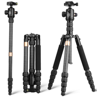 Q668C Panoramic Damping carbon fiber photo stand tripod with monopod for digital camera/mobile phone/DSLR and etc
