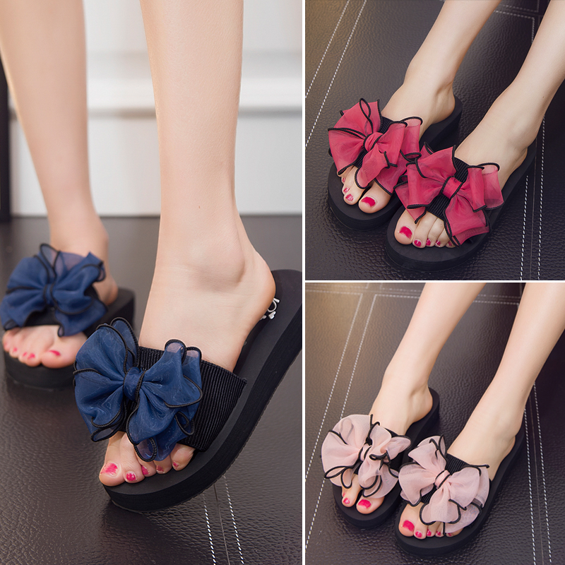 Summer Women Slippers Bow Flat Shoes Fashion Outdoor Non-slip Casual Beach Flip Flops LDW924 leopard cool men beach slippers summer 2017 new fashion soft non slip flip flops shoes outdoor flat casual slippers plus size