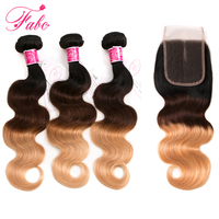 Buy 3 Get 4 FABC Hair Ombre Brazilian Human Hair Weave Body Wave 3 Bundles With