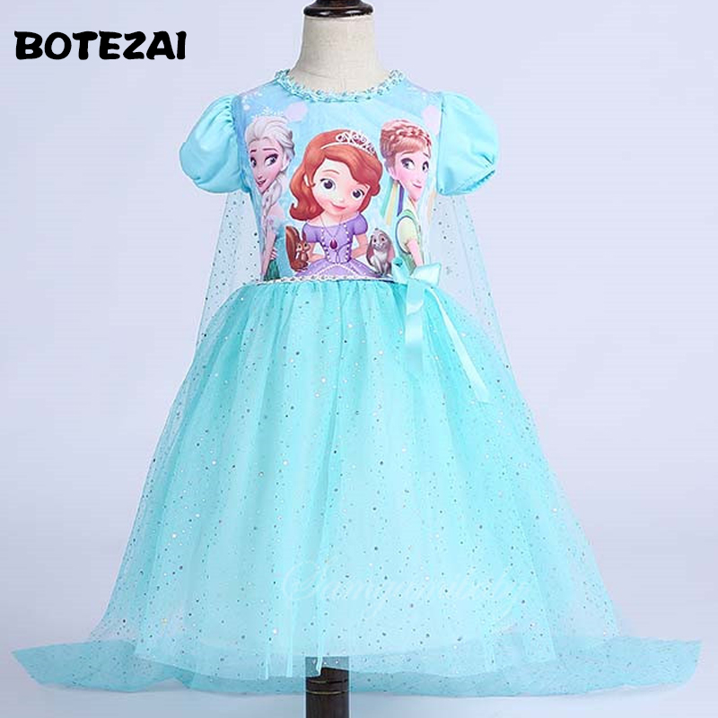Baby Girls Clothes Princess Sofia Dress Elsa & Anna dress For Girl 2017 New Children Clothing Party Dresses With Cape summer 2017 new girl dress baby princess dresses flower girls dresses for party and wedding kids children clothing 4 6 8 10 year
