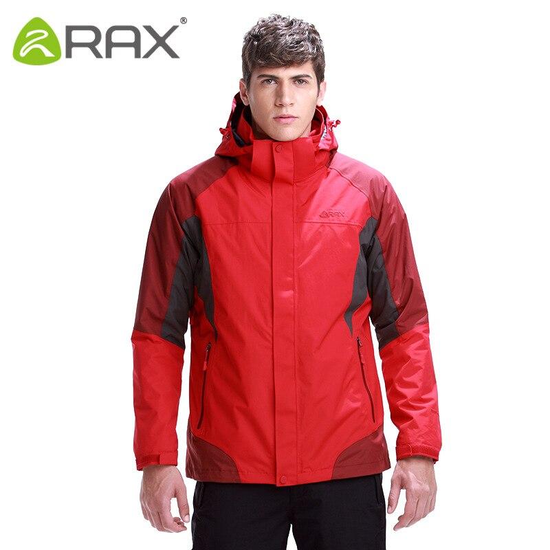 RAX Winter Outdoor Waterproof Windproof Softshell Jacket Mens Hiking Jacket Men Windbreaker Men 3 in 1 Softshell Jacket Fleece