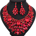 African Beads Jewelry Luxury color large crystal necklace earring set Bridal wedding party Jewelry sets