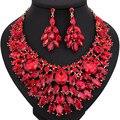 Color Beads africanos Joyería de Lujo grandes aretes collar de cristal de Novia sistemas de La Joyería del banquete de boda