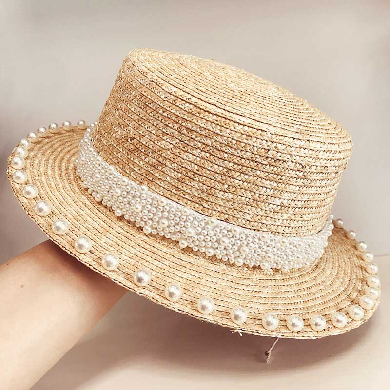 Elegant Handmade Pearls Trim Straw Hat 6cm Short Brim Canotier Flat Top Sun Beach Cap Women Boater Hat Ladies Derby Occasion Hat