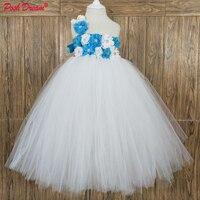 POSH DREAM Turquoise Flower Toddler Baby Girls Wedding Dresses White Tulle Children Girls Tutu Dresses for Birthday Party