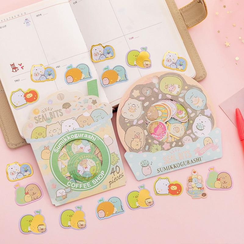40 Sheets /Bag Cute Sumikko Gurashi Donut Milk Decorative Stickers Computer Notebook Decor